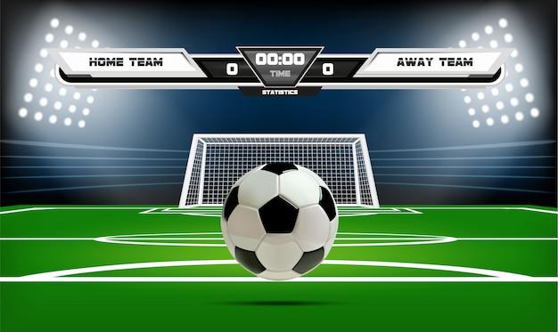 Terrain de football ou de soccer avec éléments infographiques et ballon 3d.