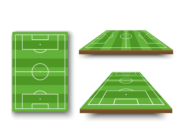 Terrain de football, terrain de football en vue en perspective sur fond blanc