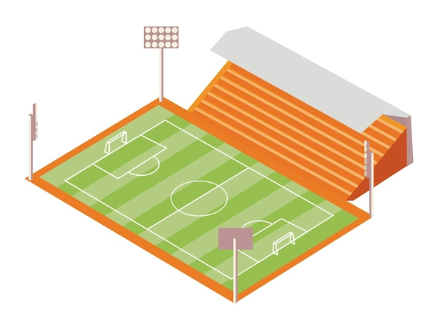 Terrain de football et tribune