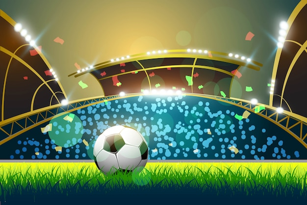 Terrain de football vert, spots lumineux