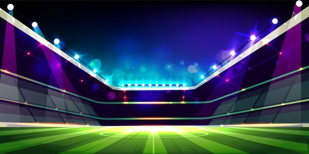 Terrain de football vide illuminé avec dessin animé de lumières de projecteurs