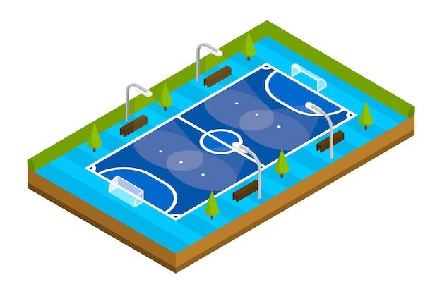 Terrain de futsal isométrique