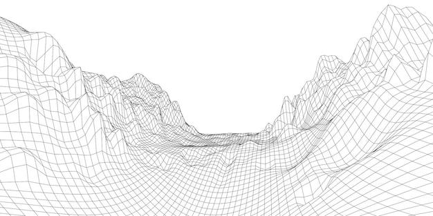 Terrain de géologie, paysage filaire 3d abstrait. style de plan. rendu vectoriel à partir d'un modèle 3d.