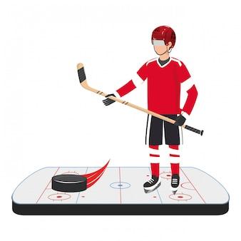 Terrain de glace joueur de hockey