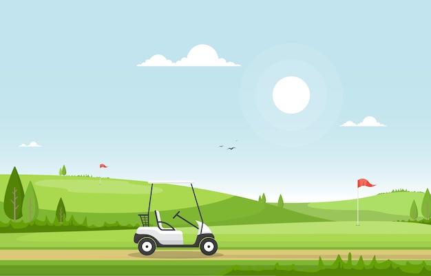 Terrain de golf drapeau panier herbe arbre paysage de sport en plein air