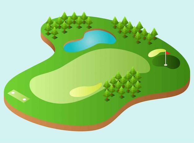 Un terrain de golf avec un lac, quelques arbres, illustration isométrique