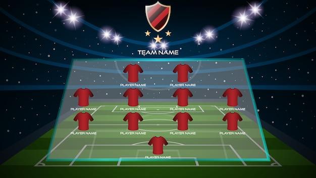Terrain d'herbe de football avec le football de départ alignent le joueur et le logo de l'équipe
