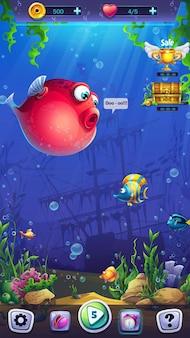 Terrain de jeu au format mobile mahjong fish world pour le jeu informatique