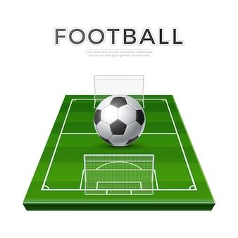 Terrain de jeu de football réaliste avec des portes de balle