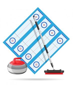 Terrain de jeu pour l'illustration vectorielle de curling sport jeu