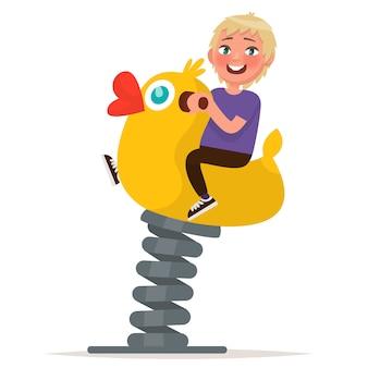 Terrain de jeux. garçon se balançant sur la balançoire de printemps. illustration