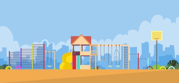 Terrain de jeux pour enfants vide en plein air