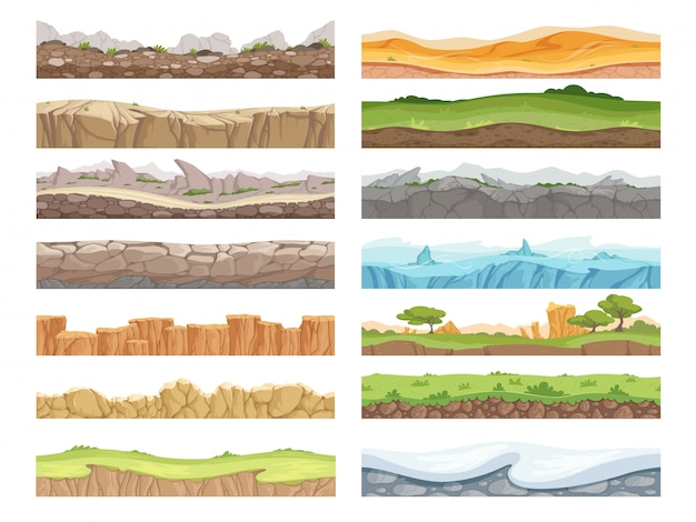 Terrain sans couture de jeu. dessin animé rock saleté paysage pierre sol actif fond de plancher