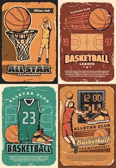Terrain de sport de basket-ball, joueurs, balles et panier