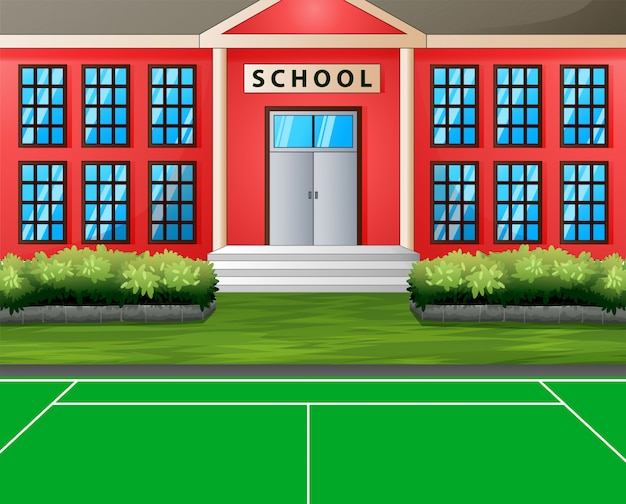 Terrain de sport devant le bâtiment de l'école