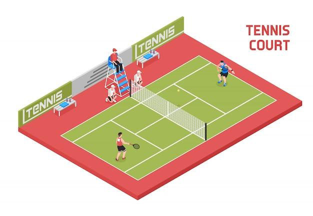 Terrain de tennis sportif isométrique
