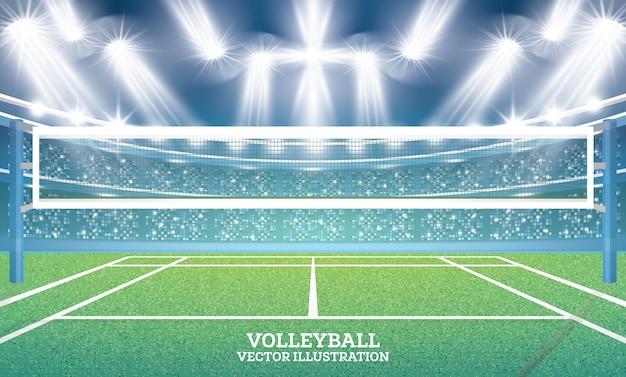 Terrain de volley-ball avec projecteurs. illustration vectorielle.