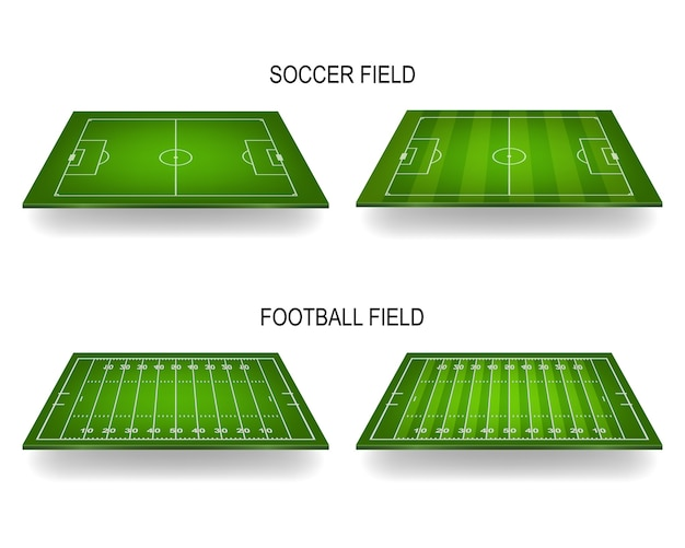 Terrains de football et de football américain avec perspective.