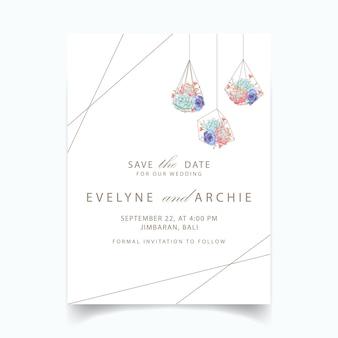 Terrarium géométrique invitation de mariage succulentes