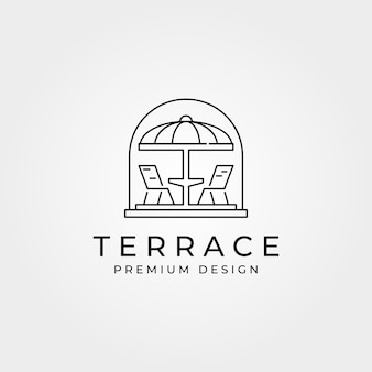 Terrasse café balcon logo ligne art symbole illustration