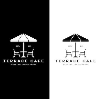 Terrasse café logo extérieur conception illustration vectorielle dessin trait vintage