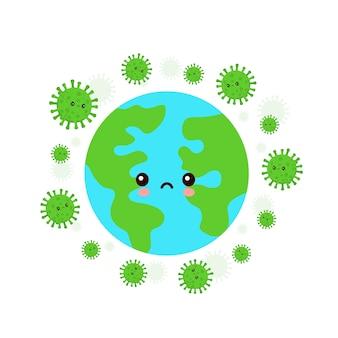 Terre Attaquée Par Le Coronavirus Vecteur Premium