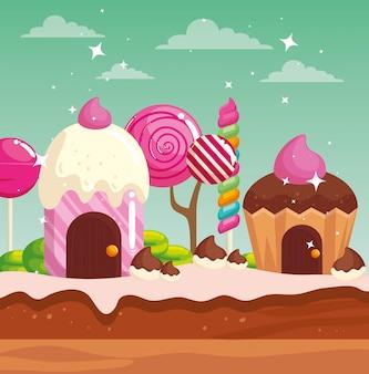 Terre de bonbons avec maisons cupcake et caramels