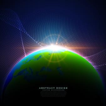 La terre sur le ciel bleu dans la technologie fond de style numérique