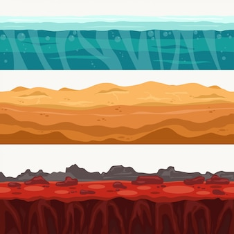Terre couches sans couture entourant avec pierre de roche. surface de l'eau, lave volcanique, sable du désert.