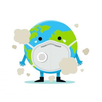 La terre dans un masque facial pour prévenir les maladies, la grippe, la pollution de l'air, l'air contaminé, la pollution mondiale, les pm10, les pm2,5. concept de la journée mondiale de l'environnement.
