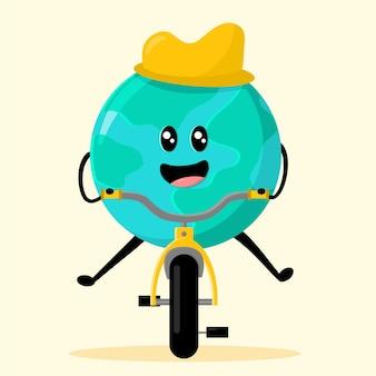 Terre de dessin animé sur un vélo