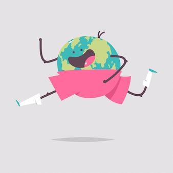 Terre drôle personnage de dessin animé en cours d'exécution isolé sur fond blanc. illustration de concept de journée de la santé.
