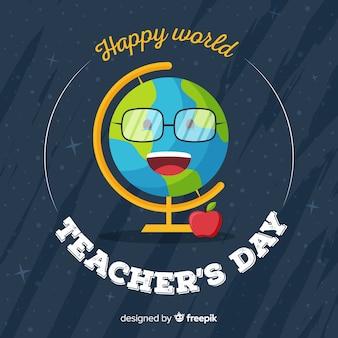 Terre du smiley de la fête des enseignants du monde plat