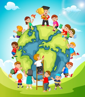 La terre avec les enfants qui jouent autour
