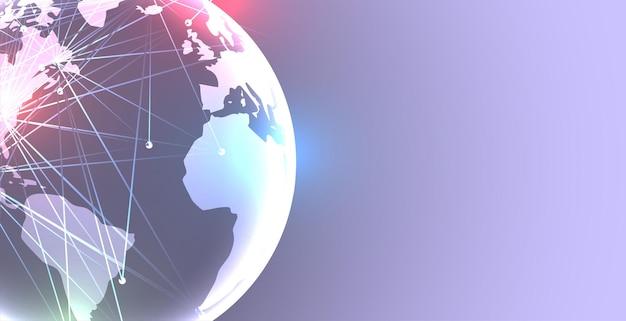 Terre avec fond de connexion réseau numérique