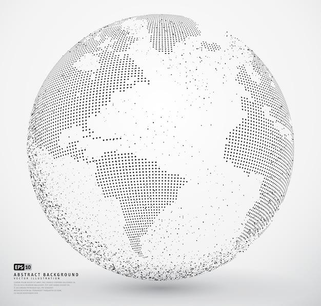 Terre à globe en pointillés abstraite