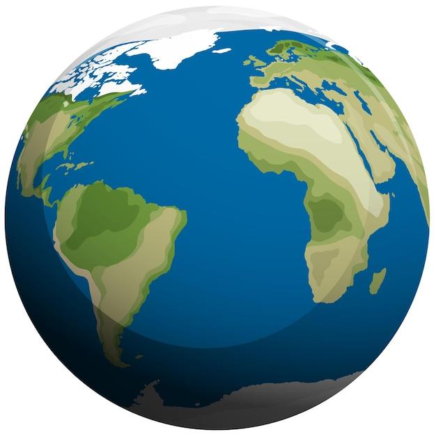 Terre isolée sur blanc