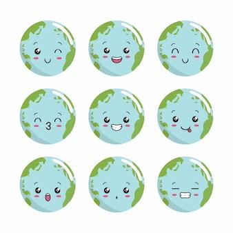 Terre, kawaii, globe, illustration, dessin animé