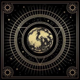 Terre ou lune avec dessin au trait