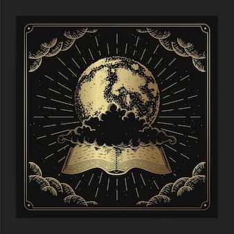Terre ou lune avec un vieux livre magique en style gravure