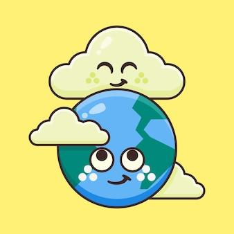 Terre mignonne avec illustration de nuage