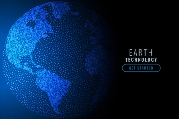 Terre numérique faite de particules bleues de technologie