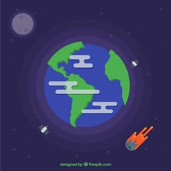 Terre avec les satellites et les météorites