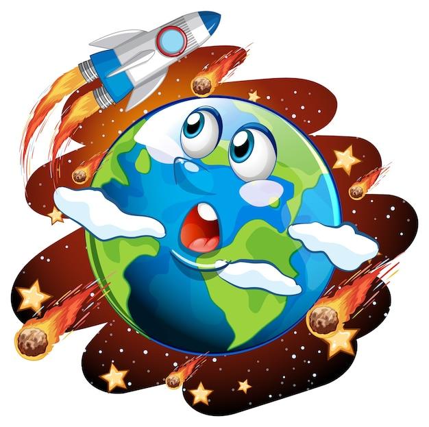 La terre avec un visage sensible sur le thème de la galaxie spatiale