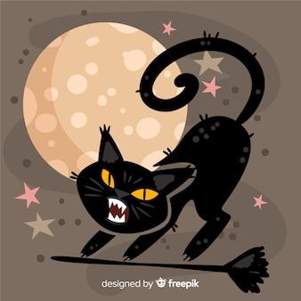 Terrible chat d'halloween dessiné à la main