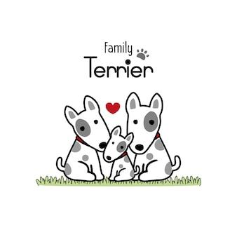 Terrier chien famille père mère et nouveau-né.
