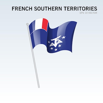 Territoires australes français agitant le drapeau isolé sur gris
