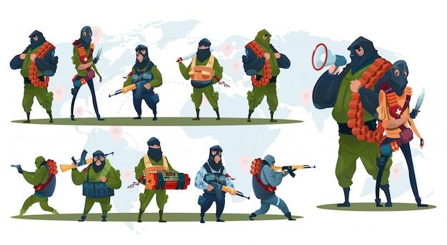 Terrorisme armé terroriste groupe masque noir arme mitrailleuse