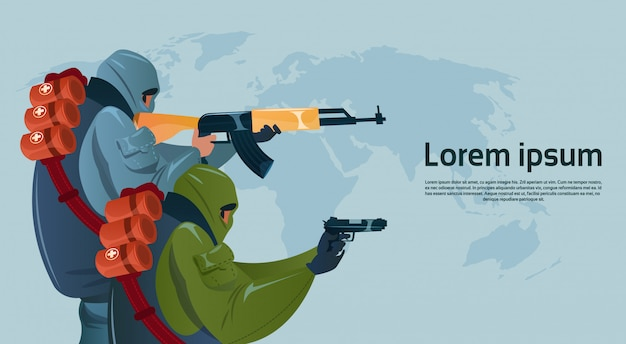 Terrorisme armé terroriste masque noir tenir arme mitrailleuse planifier attaque mondiale
