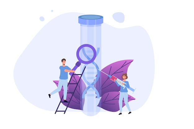 Test adn, tests génétiques, concept de recherche en laboratoire. télévision illustration vectorielle
